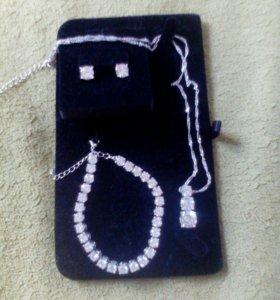 Комплект-браслет,серьги,цепочка с подвеской