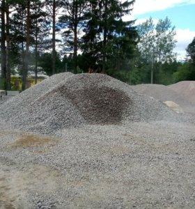Песок, земля, щебень, отсев, камень любой фракции.