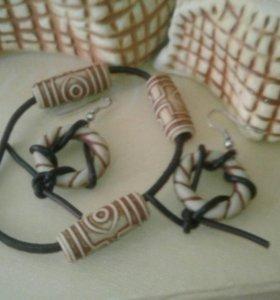 Серьги и браслет этностиль