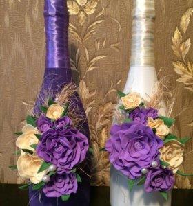 Оформление свадебных бутылок 🥂