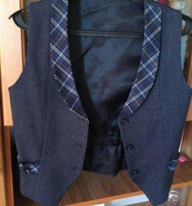 Школьная форма для девочки жилетка и юбка+ брюки
