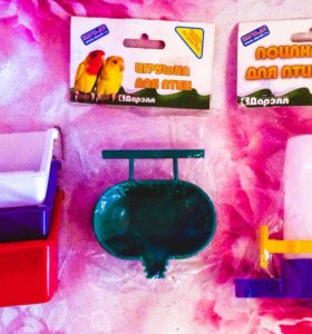 Поилка, игрушка и кормушки для птичек