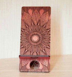 Подставка для телефона (цвет мокко + вишня)