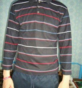 Рубашка темно-синяя в полоску