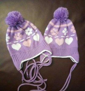 Демисезонные шапочки для двойни, близнецов