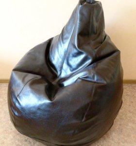 Кресло мешок из кожи цвета венге