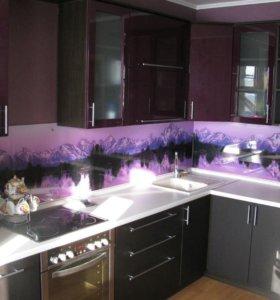 Кухонные фартуки из закаленного стекла и фотопанели