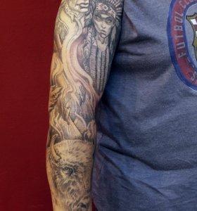 Татуировки большие, рукав