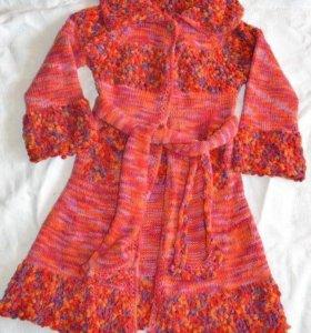 Вязанное пальто для девочки 8-10 лет