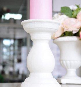 Белый подсвечник для свадебного декора и флористики, декор и сервировка стола