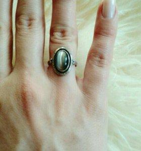 Кольцо и серьги кошачий глаз натуральный камень