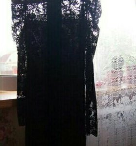Кружевное черное женское платье