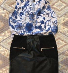 Блузка новая H&M 42-44 и кожаная юбка