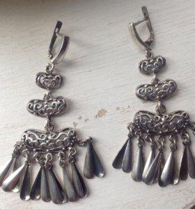 Серьги серебро новые
