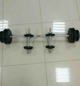 Набор Atlet Barbell (штанга 35 кг. и 2 гантели)