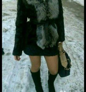 Шуба норковая с воротником из чернобурки