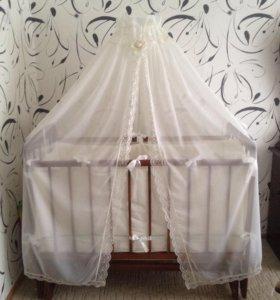 Кроватка детская+ матрац+ бортики с балдахином