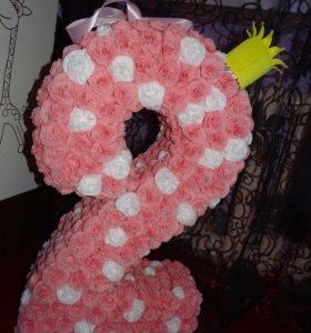 Цветы из гофры с конфетами и без