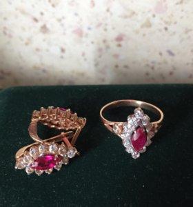 Золотой комплект кольцо и серьги с фианитами