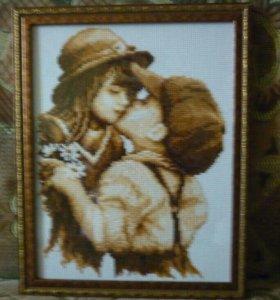 #Мальчик_и_девочка#вышивка#Картина