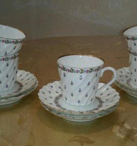 Чайные пары лфз костяной фарфор набор 1970 г