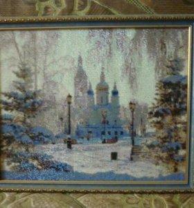 #Церковь_зимой#Алмазная#мозаика#вышивка#Картина