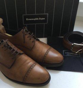 Туфли мужские Zegna Er.кожаные +ремень