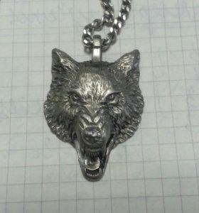 Кулон волк серебро эксклюзив 30 гр