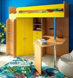 Детская кровать-чердак Фанки Соло-2 с матрасом
