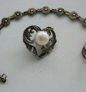 Серебряный кулон и браслет