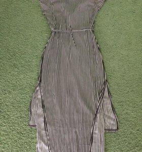 Платье-рубашка в чёрную полоску