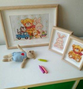 Картины вышивка для детской ручная работа