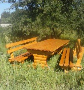 Стол и две скамейки
