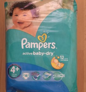 Pampers Activ baby dry 4+ (9-16 кг) 108 штук