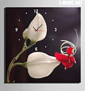 Интерьерные часы-картина на натуральном холсте