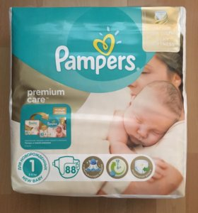 Pampers premium care 1 (2-5 кг) 88 штук