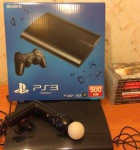 PS3 (PlayStation 3) 500 GB + Move + 8 игр
