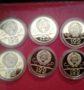 Монеты 100руб 6шт коллекция