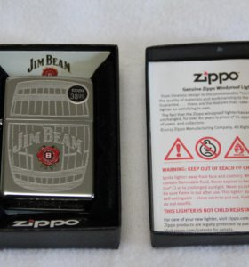 28421 Зажигалка Zippo Jim Beam Barrel, Polish Chro