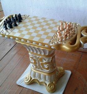 шахматный стол из натурального камня