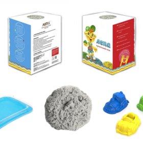 Кинетический песок 2кг + песочница + формочки
