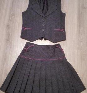 Школьная юбка + жилет серого цвета