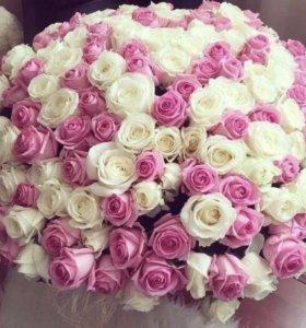 Букет из 101 белой и розовой розы 🌹 70 см