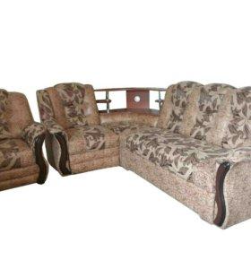 """0380 диван угловой """"Аделина"""" с баром и креслом"""