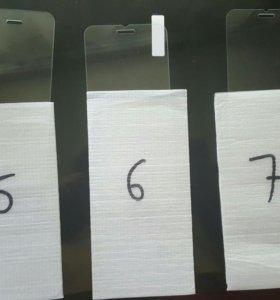 Стекла на iPhone 5, 6, 7