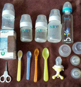Бутылочки, ложки, соски, ниблер, ножницы,слюнявчик