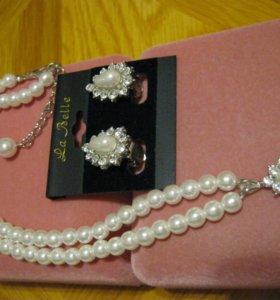 ожерелье с клипсами жемчуг.