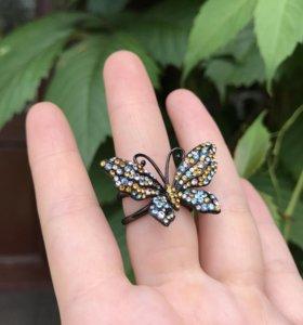 Кольцо бабочка новое бижутерия