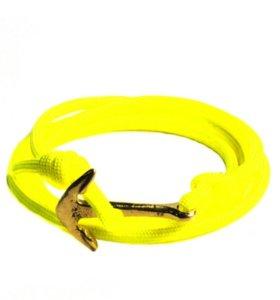 Браслет шнурок с якорем