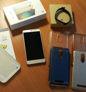 Xiaomi redmi note 3 pro + MI band 1s + чехлы